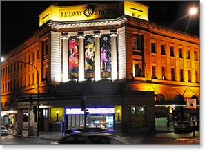 Adelaide Casino lit up at night