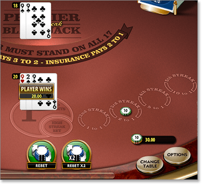 Microgaming Premier Blackjack High Streak Gold Series