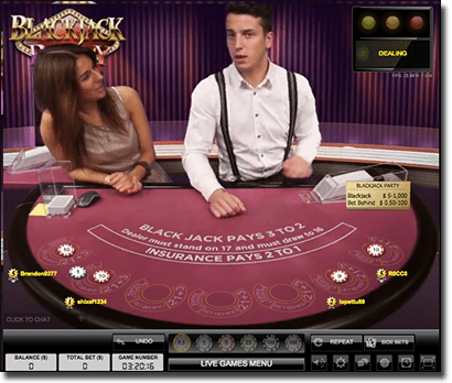 Evolution Gaming Blackjack Party live dealer