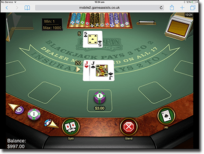Microgaming European blackjack Gold on iPad