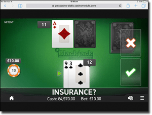 Single Deck blackjack on iPad