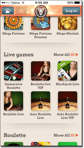 Leo Vegas mobile live dealer games lobby