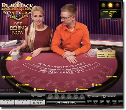 Evolution Gaming's Blackjack Party live dealer