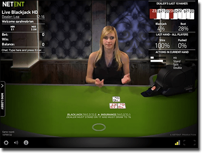 NetEnt live dealer blackjack low stakes