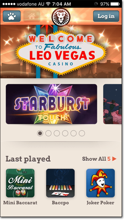 Leo Vegas mobile casino app browser-play