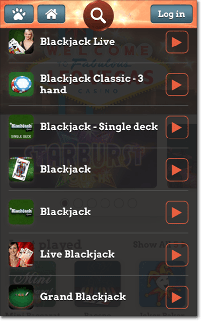 Leo Vegas mobile casino app blackjack games catalogue