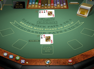 Classic blackjack by Microgaming